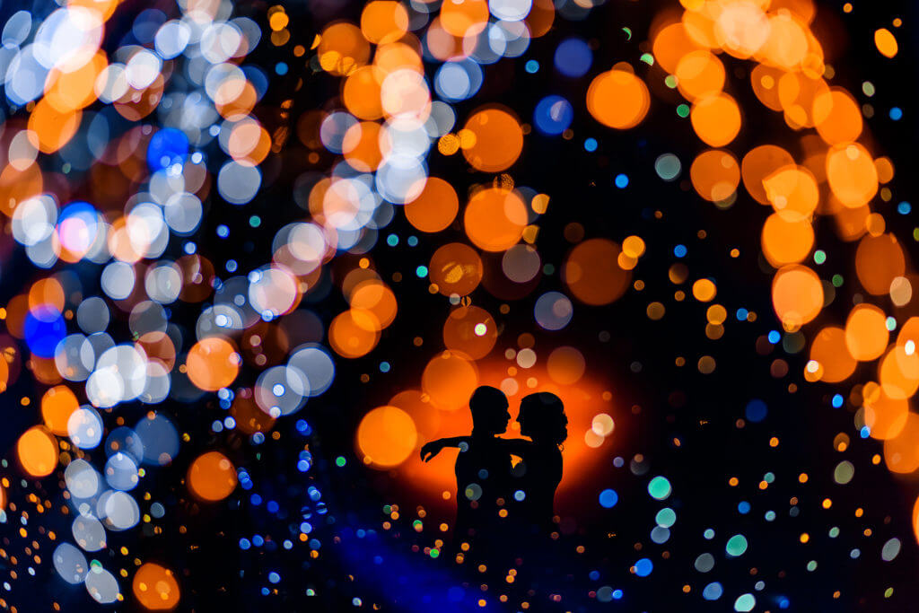 Colorful Silhouette Wedding Couple Image Taken By Carsten Schertzer a Los Angeles Based Wedding Photographer
